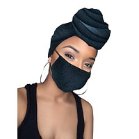 Leila Faux Leather Stretched Headwrap and Mask