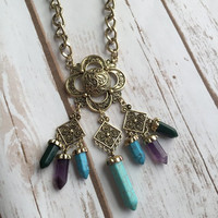 Serenity Crystal Look Boho Necklace (Bronze)