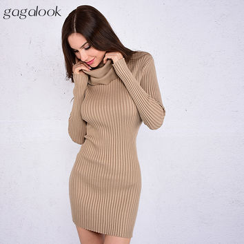2017 Brand Winter Knitted Dress Women Red Ribbed Cowl Neck Short Bodycon Christmas Sweater Dress Ro
