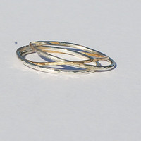 14k gold and silver 925 SET OF 3 stacking band delicate  rings