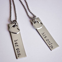 Her One, His Only - Couples Jewelery - Hand Stamped Stainless Steel Necklace Set - Sterling Silver Heart Charm