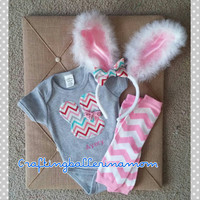 Chevron Easter Bunny Onesuit - Embroidered - Bunny Ears - Leg Warmers - First Easter - Baby Girl Easter Outfit - Spring Easter