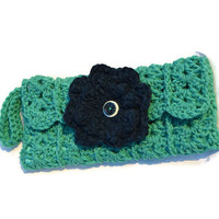 Teal Handmade Crochet Lined Pouch With Removable Flowers And Zipper Cell Phone Clutch Bag Lined Bags & Purses Womens Purse @MystifyGifts