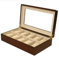 Tech Swiss Watch Box for 10 Watches Burlwood Matte Finish XL Extra Large Compartments Soft Cushions Clearance Window