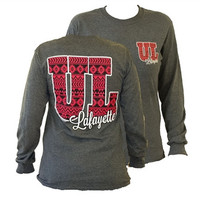 Southern Couture ULL Ragin Cajuns Aztec Tribal University of Louisana Lafayette Girlie Bright Long Sleeve T Shirt