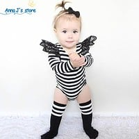 born Costume Children Baby Girl Toddler Cotton Long Sleeve Monkey Lace Clothing Outfit kids Bodysuits