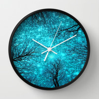 Black Trees Teal Space Wall Clock by 2sweet4words Designs