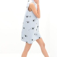 Eyes Print Blue Tank Dress