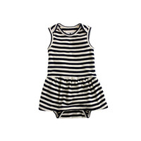 BABY SKIRTED ONE-PIECE IN NAVY BISQUE STRIPE