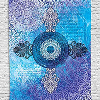 Tapestry Mandala Decor Indian Batik Mandala Hippie Zen Yoga Wall Hanging Dorm Blue Purple Ombre Asian Style Tapestry for Her Wife Girlfriend Bedroom Living Room Decorations, Blue Purple White Black