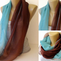 blue and brown chiffon scarf ,infinity ,eternity scarves ,women scarves ,2014 scarf trends