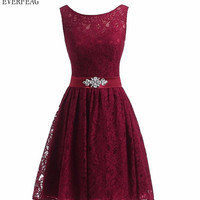Floral Lace Beaded Short Prom Dress Bridesmaid Dresses