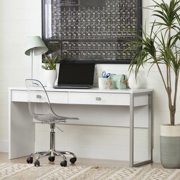 South Shore Interface Desk with 2 Drawers, Pure White - Walmart.com