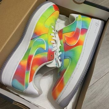 NIKE Air force 1 new rainbow color matching couple casual sneakers Shoes