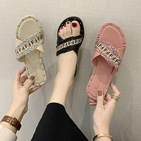 Fendi women's slippers with cross straps shoes