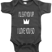 I'LL EAT YOU UP I LOVE YOU SO BABY ONE PIECE WHERE THE WILD THINGS ARE CREEPER ROMPER