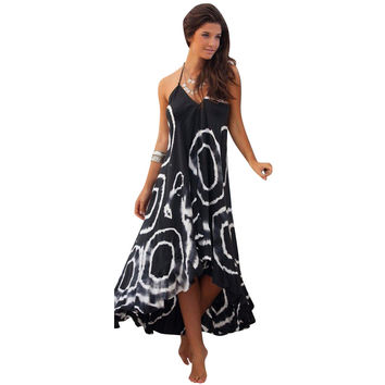 Womens Party Dress Boho Beach Long Dresses Spaghetti Strap Striped Style Casual Beach Sundress  SN9