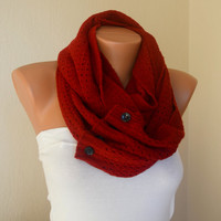 Red knit lace button infinity scarf circle scarf winter scarfs neck warmer cowl button scarf birthday gifts women's accessory