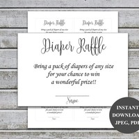 Diaper Raffle Ticket Cards | Printable Baby Shower Games | Diaper Raffle Insert for Neutral Baby Shower invitations | Instant Download (L16)