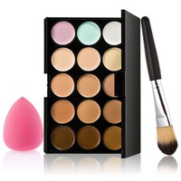 High Quality Professional 15 Color Concealer Palette Makeup Brush with Sponge Puff Set Face Contour Kit well