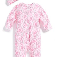 Infant Girl's Little Me 'Damask Scroll' Print One-Piece & Hat