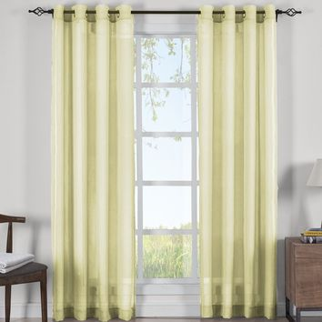 SOFT GOLD Abri Grommet Crushed Sheer Curtain Panels (Two Panels )