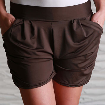 Brown Solid Harem Shorts
