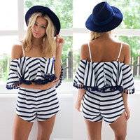 Black and White Jumpsuit short dress v neck for women = 4769224964