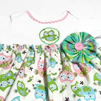 Baby Bodysuit Dress,  Baby Girl Summer Clothes, Owls