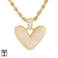 """Jewelry Kay style V Initial Custom Bubble Letter Gold Plated Iced CZ Pendant 24"""" Chain Necklace"""