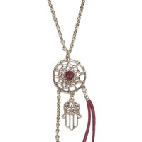 With Love From CA Dreamcatcher Cluster Necklace - Womens Jewelry - Red - One