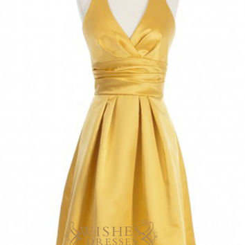 A-line V-neck Gold Satin Short Bridesmaid Dresses With Short Sleeves AM355