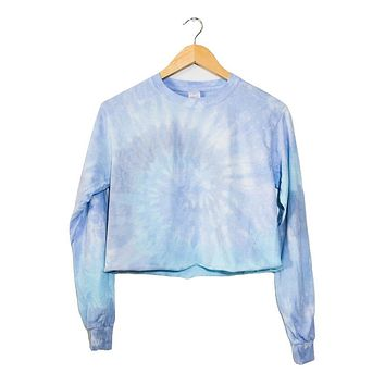 Waterfall Tie-Dye Long Sleeve Unisex Cropped Tee