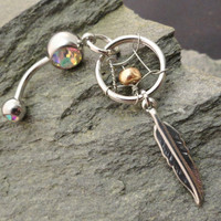 Dream Catcher Belly Button Ring Jewelry Copper Beaded Feather Navel Jewelry