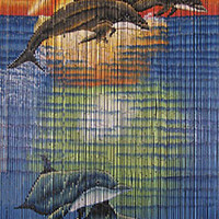 Bamboo door curtain with Seaworld scene
