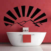 Vinyl Wall Decal Sticker Mountains with Sun Rays #OS_MB916