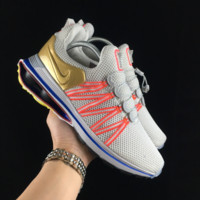 hcxx  N106 Nike Shox Gravity Air Column Cushioning Casual Men And Women Running Shoes Grey Red Gold