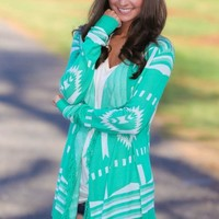 Test The Waters Cardigan-Spearmint