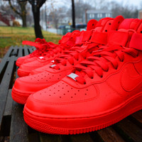 Candy Paint Nike Air Force 1 Customs in All Red, Blue, Green, Pink, etc, Any Color.  In Mid, or Low Styling