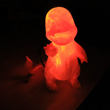 Charmander Lamp - 3D Printed Pokemon Nightlight with Red & Orange LED Lights - 6' USB Cord with Wall Adapter Included