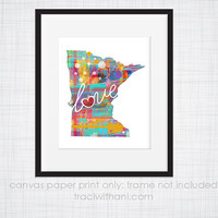 Minnesota Love - MN Canvas Paper Print:  Grunge, Watercolor, Rustic, Whimsical, Colorful, Digital, Silhouette, Heart, State, United States