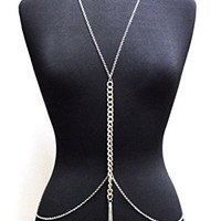 Silver Tone Womens Adjustable Size Crystal Dangling Accent Simple Body Chain Necklace Jewelry IBD1039R