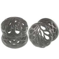 """Amazon.com: 1/2"""" Inch (12mm) Black Alloy Double Flared Ear Plugs - Sold as a Pair: Jewelry"""