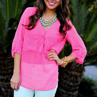 Bright As Can Be Blouse: Neon Pink | Hope's