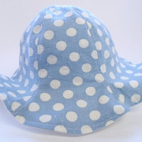 Blue polka dot sun hat, beach hat, girl hat, fabric hat, baby girl hat, baby hat, 6-12m / 12-24m