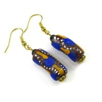 Sand Cast African Beads Dangle Earrings in Blue and Tans with Volcanic Lava Bead