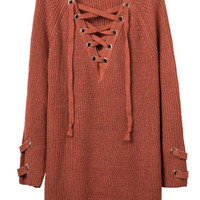 Orange Plunge Neck Lace Up Front Long Sleeve Knit Dress