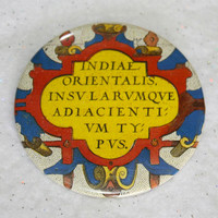 """Antique Map Latin Crest Pin - 2.25"""" History Buff Cool Gift Colorful Unique Eclectic Scholarly Professor Pinback Button"""