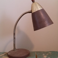 Vintage Brown and Brass Metal Desk Lamp Great Desk Craft Area Sewing Office Decor Lighting Industrial Great Housewarming Wedding Gift