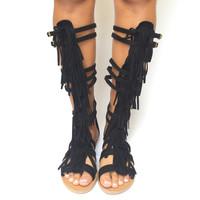 Walk It Out Fringe Gladiator Sandals In Black